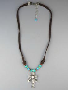 Turquoise & Gemstone Leather Cross Necklace