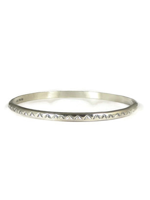Hand Stamped Sterling Silver Bangle Bracelet by Elaine Tahe (BR4111)