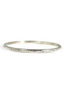 Hand Stamped Sterling Silver Bangle Bracelet by Elaine Tahe (BR4114)