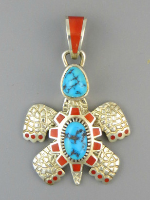 Natural Sleeping Beauty Turquoise & Mediterranean Coral Inlay Turtle Pendant by Vernon Haskie