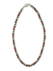 """Mediterranean Coral Silver Bead Necklace 18"""""""