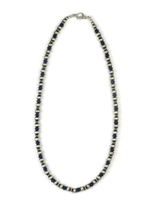 Lapis Silver Bead Necklace 18""