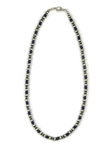 Lapis Silver Bead Necklace 20""