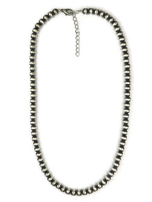 "Antiqued 6 mm Sterling Silver Bead Necklace 18"" with Extender"