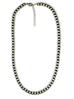 "Antiqued 6 mm Sterling Silver Bead Necklace 20"" with Extender Chain"