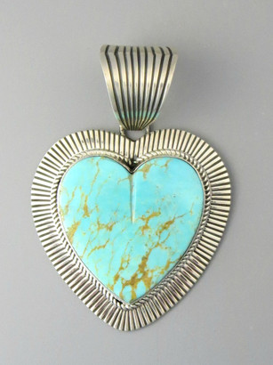 Large Kingman Turquoise Heart Pendant by Albert Jake