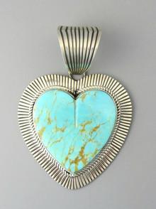 Large Kingman Turquoise Heart Pendant by Albert Jake