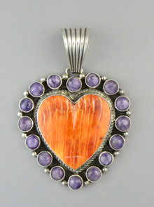 Spiny Oyster Shell & Charoite Heart Pendant by Geneva Apachito