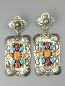 Large Sleeping Beauty Turquoise, Coral & Spiny Oyster Shell Earrings by Darryl Becenti