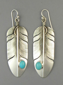 Turquoise Silver Feather Earrings by Lena Platero