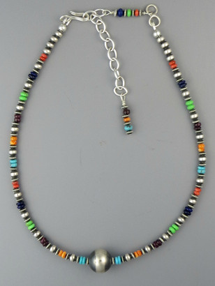 """Multi Gemstone Silver Bead Necklace 13"""" with Extender Chain"""