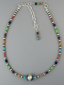 "Multi Gemstone Silver Bead Necklace 13"" with Extender Chain"
