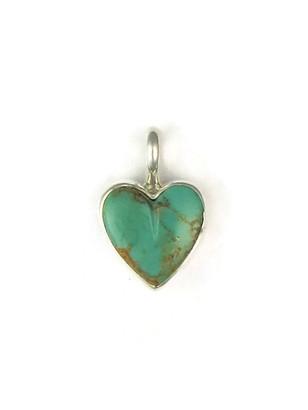 Kingman Turquoise Heart Pendant by Delina John (PD4843)