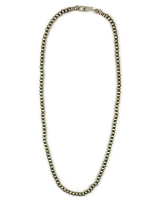 """Antiqued Sterling Silver 4 mm Silver Bead Necklace 22"""""""