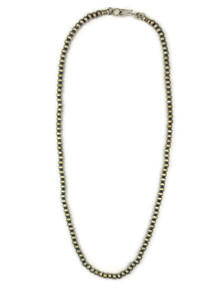 Antiqued Sterling Silver 4 mm Silver Bead Necklace 22""