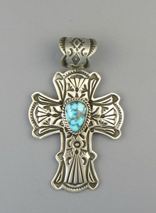 Kingman Turquoise Cross Pendant by Happy Piaso (PD4846)