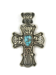 Spider Web Kingman Turquoise Cross Pendant by Happy Piaso