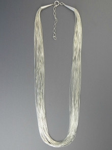 "20 Strand Liquid Silver Necklace 24"" with Extender Chain"