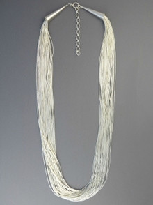 """30 Stand Liquid Silver Necklace 24"""" with Extender Chain"""