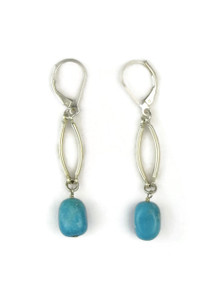 Sterling Silver Turquoise Dangle Lever Back Earrings