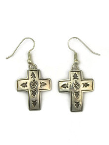 Hand Stamped Silver Cross Earrings