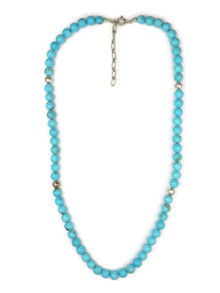 "Turquoise Bead Necklace with Extender Chain 18"" (NK3352)"
