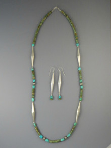 "Emerald Valley Turquoise Silver Bead Necklace 30"" & Earring Set"