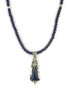 Silver Lapis Pendant Necklace by Les Baker Jewelry