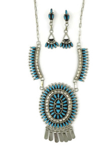 Turquoise Needle Point Cluster Necklace Set by Evonne Hustito, Zuni