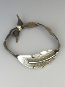 Leather & Sterling Silver Feather Bracelet