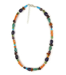 "Multi Gemstone Bead Necklace 17"" with Extension Chain"