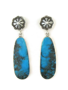 Turquoise Slab Silver Concho Earrings by Ronald Chavez (ER3683)