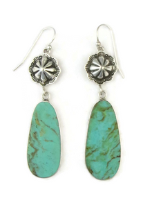 Turquoise Slab Silver Concho Earrings by Ronald Chavez (ER3685)