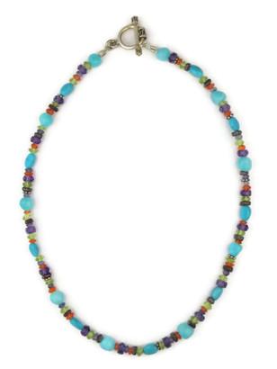 "Multi Gemstone Bead Necklace 15"" with Toggle Closure"