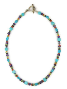"Multi Gemstone Bead Necklace 15"" with Toggle Closure"