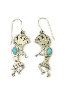 Silver Turquoise Kokopelli Earrings