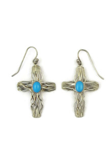 Sleeping Beauty Turquoise Silver Branch Wire Earrings