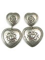Large Hand Stamped Silver Heart Earrings by Joe Piaso Sr.