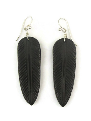 Jet & Lime Alloyd Feather Slab Earrings by Ronald Chavez