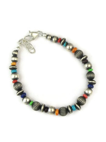 Multi Gemstone Silver Bead Bracelet (BR5605)