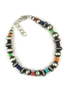 Multi Gemstone Silver Bead Bracelet (BR5621)