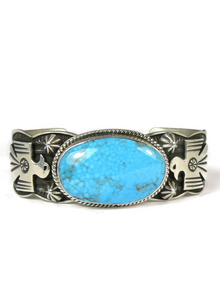 Kingman Turquoise Thunderbird Bracelet by Andy Cadman