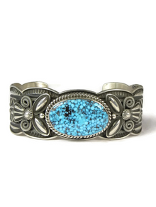 Spider Web Kingman Turquoise Bracelet by Andy Cadman