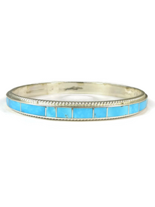 Turquoise Inlay Bangle Bracelet by Ricky Booqua, Zuni