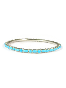 Turquoise Inlay Petite Point Bangle Bracelet by Elvira Kiyite, Zuni