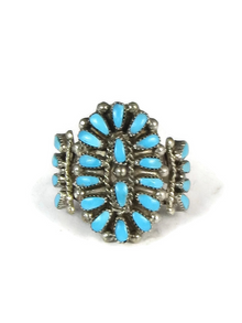 Turquoise Petit Point Cluster Ring Size 7 1/4