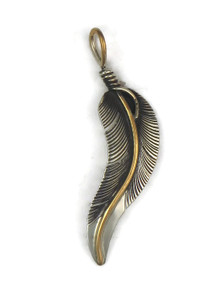 12k gold & Sterling Silver Feather Pendant by Lena Plateor (PD4858)