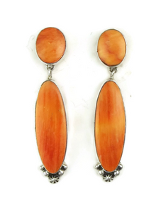 Orange Spiny Oyster Shell Earrings by Geneva Apachito