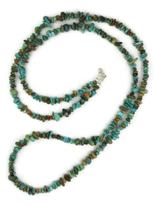"""Long Turquoise Nugget Necklace 38"""""""