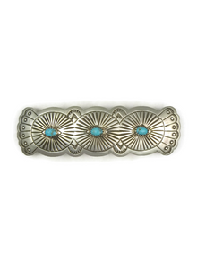 Hand Stamped Turquoise Hair Barrette by Arlene Soce
